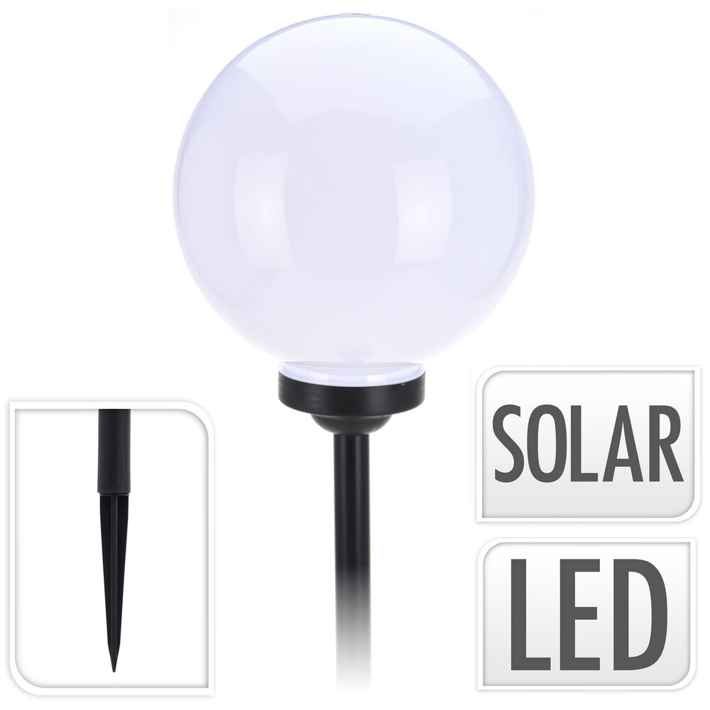led solarlampe 30 cm kugel warmwei solarleuchte gartenleuchte solarkugel lampe ebay. Black Bedroom Furniture Sets. Home Design Ideas