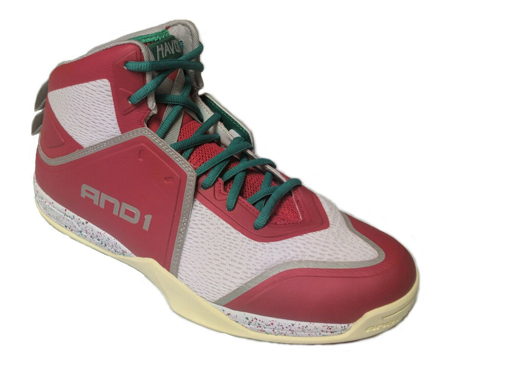 437e97df2a2 AND1 AND 1 Mens D1085MRCG Havok Mid Basketball Shoes   Red Transparent  Yellow