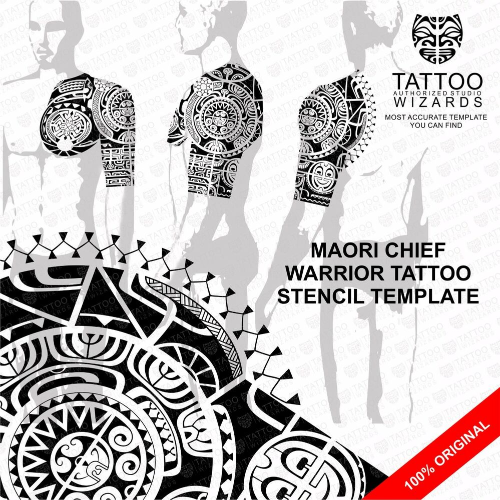 Maori Warrior Tattoos: Maori Polynesian Chief Warrior Tattoo Stencil Template