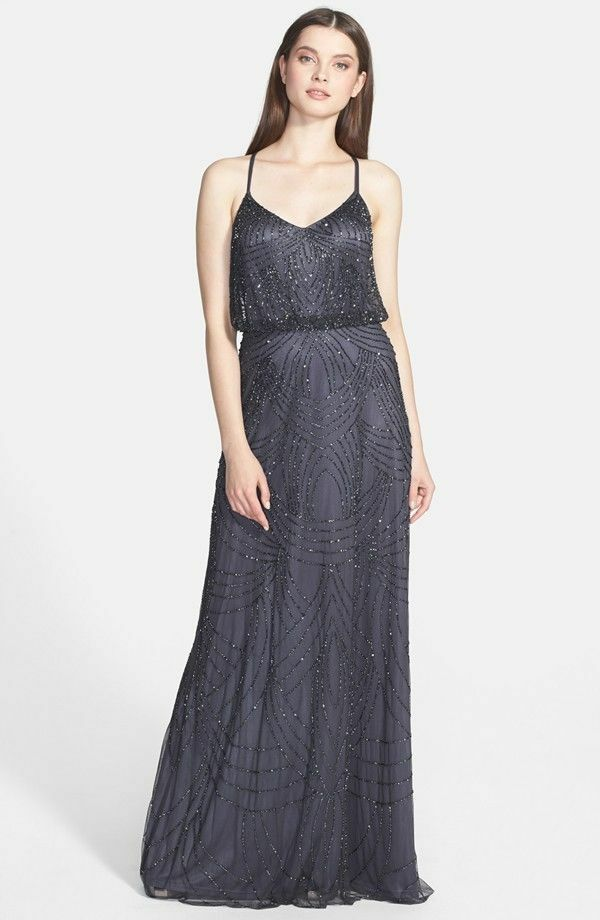$300 ADRIANNA PAPELL EMBELLISHED beaded Blouson sequined Gown ...