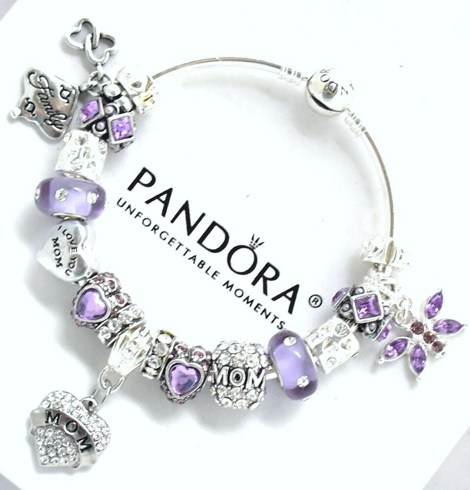 Charms For Bracelets Pandora: Authentic PANDORA Charm Bracelet Silver MOM Purple