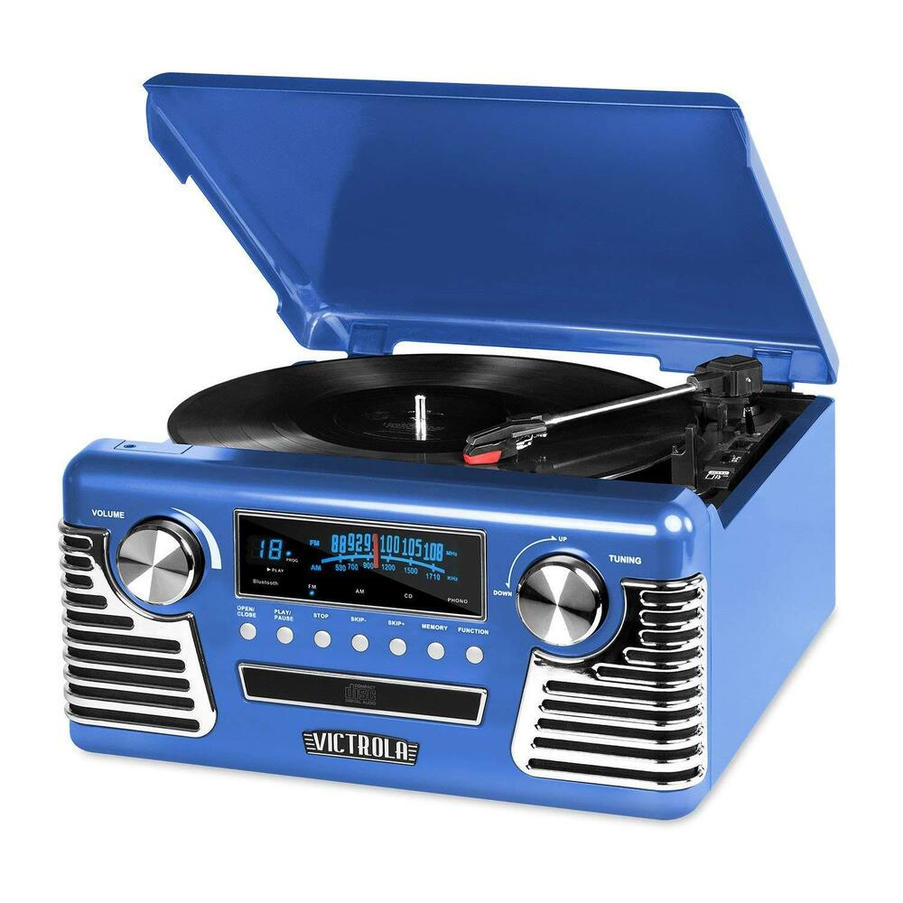 victrola retro 3 speed bluetooth turntable with stereo cd. Black Bedroom Furniture Sets. Home Design Ideas