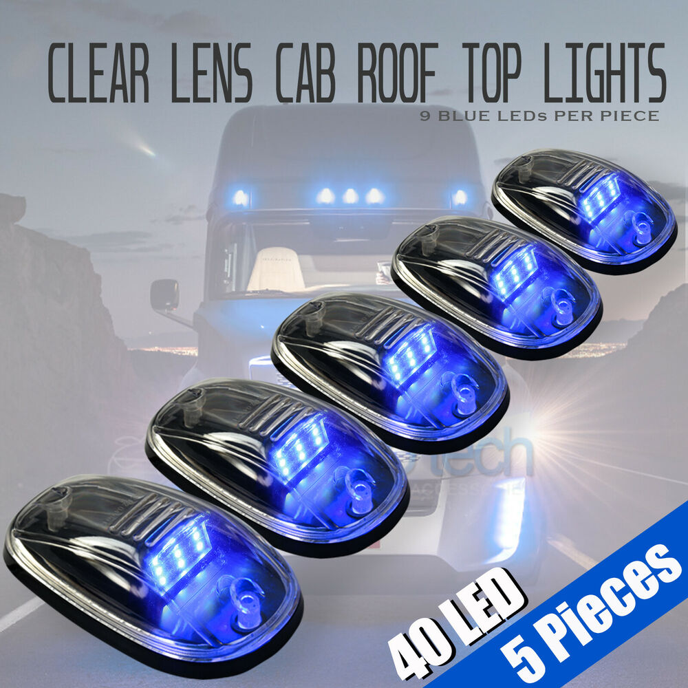 5pcs Clear Led Roof Top Truck Suv Cab Marker Running