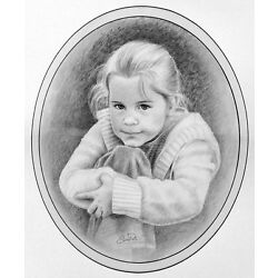 Kyпить Custom Hand Drawn Portrait Art From Your Photos by Artist Susan Pate Great Gift! на еВаy.соm