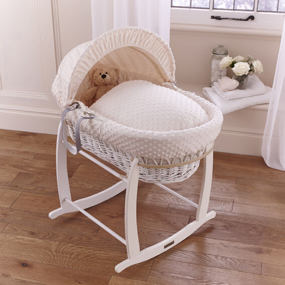 new clair de lune cream dimple padded white wicker baby. Black Bedroom Furniture Sets. Home Design Ideas