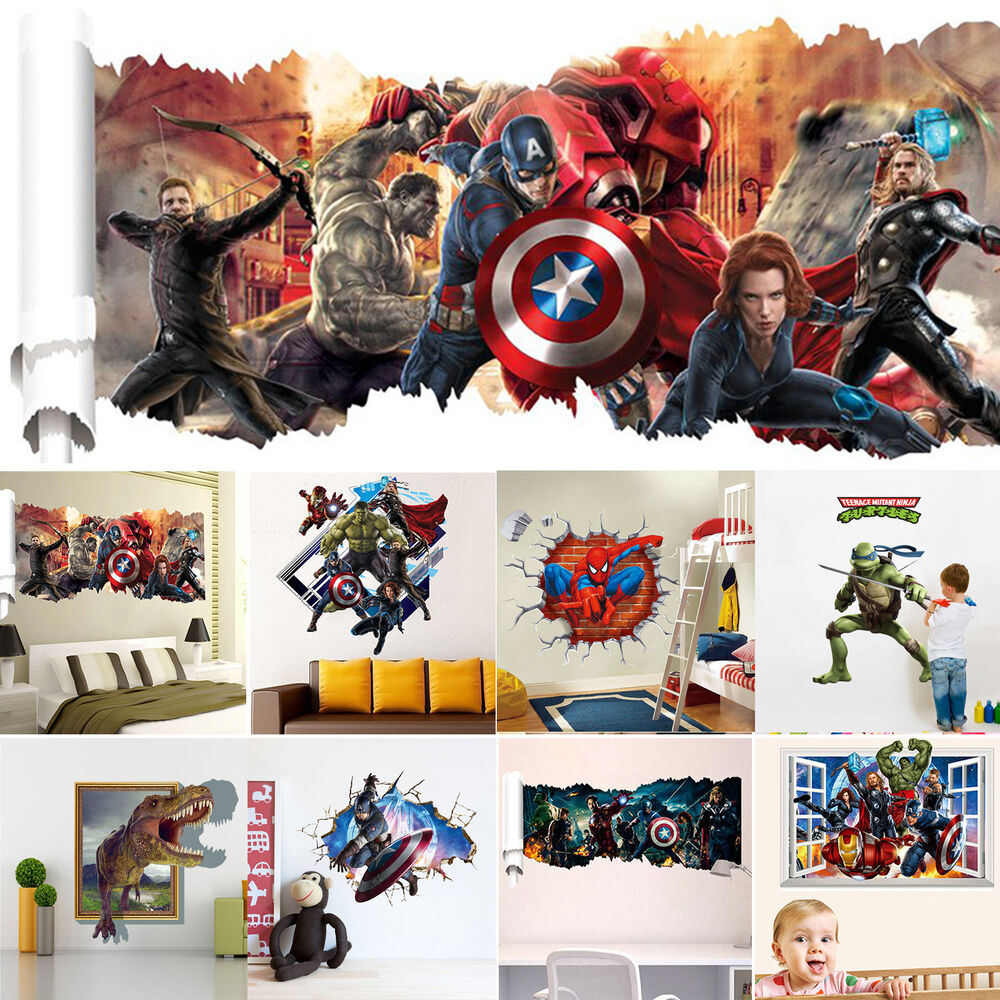 Wall sticker 3d comics marvel the avengers team hulk decal for Home decor 3d stickers
