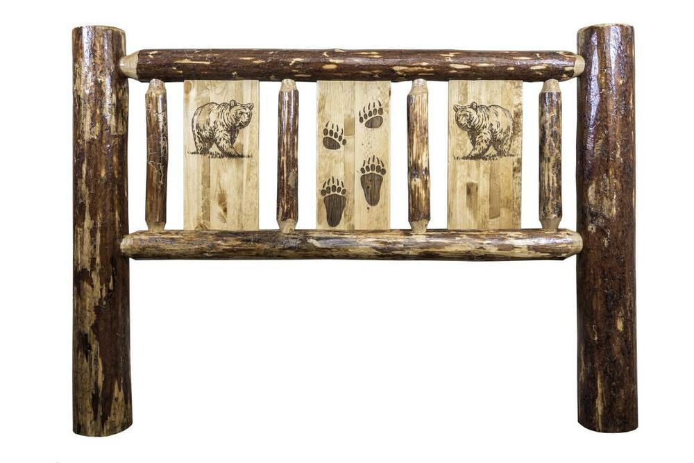 Rustic Log Headboard Carved Bear Engraved Amish Made Lodge Cabin Head Boards Ebay