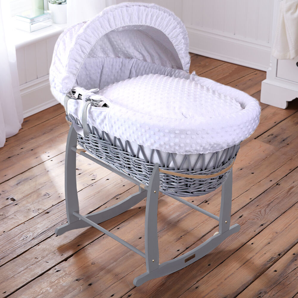 Clair De Lune White Dimple Padded Grey Wicker Baby Moses