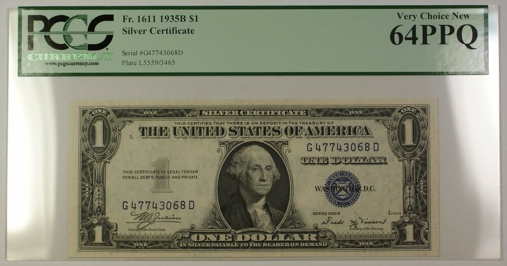 1935b 1 One Dollar Silver Certificate Fr 1611 Pcgs Very Choice New