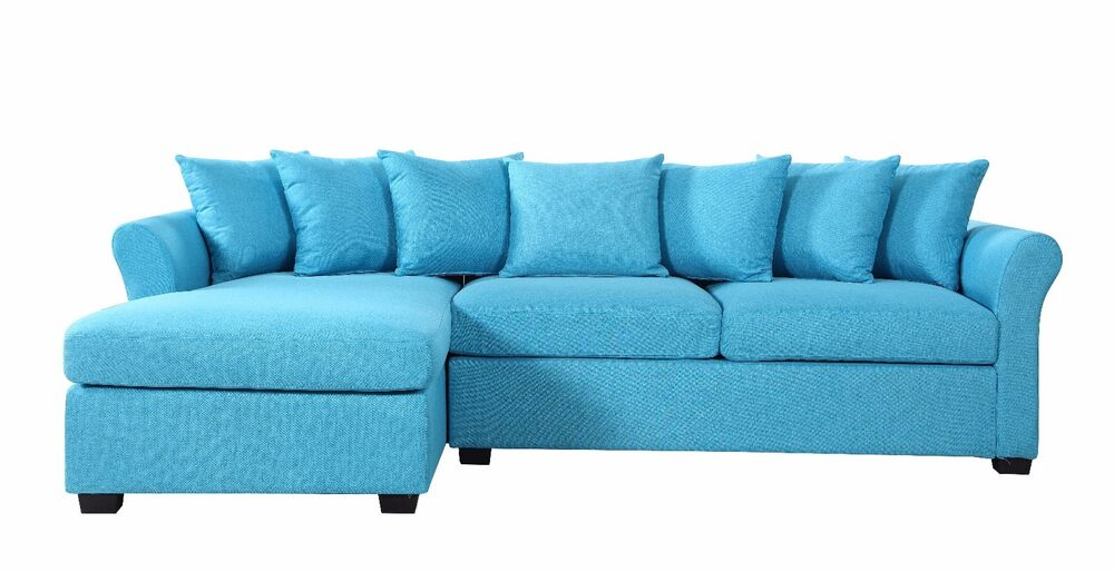 modern large linen sectional sofa with extra wide chaise lounge blue ebay. Black Bedroom Furniture Sets. Home Design Ideas
