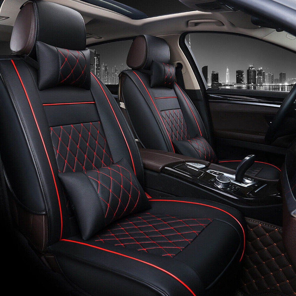 pu leather 5 seats auto car seat cover black w red size m w neck lumbar pillow ebay. Black Bedroom Furniture Sets. Home Design Ideas