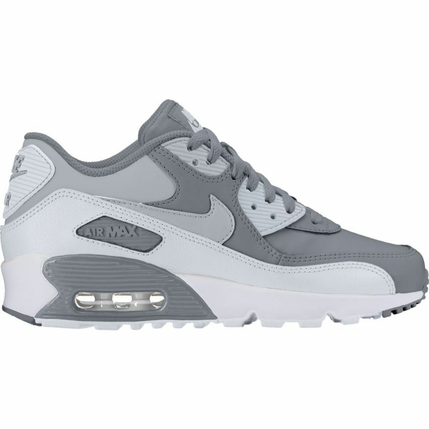 half off 062bd 28310 Details about Boys  Nike Air Max 90 Leather (GS) Shoe 833412-013 COOL GREY WOLF  GREY-PURE PLAT