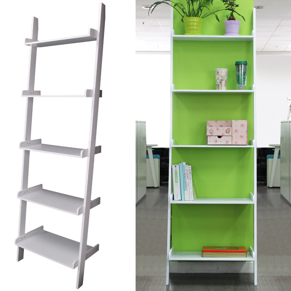 5 tier unit white ladder wall shelf home storage display