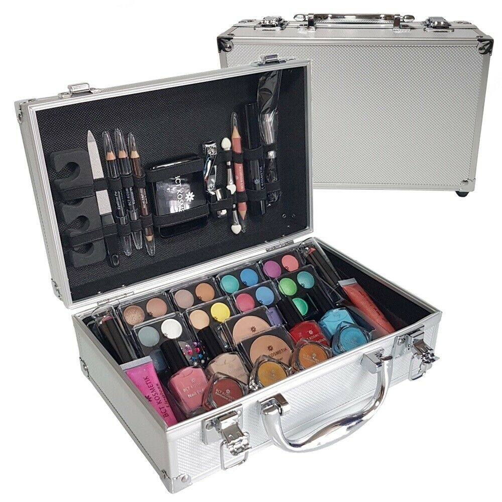 79 piece vanity case beauty cosmetic set gift travel make up box xmas storage ebay. Black Bedroom Furniture Sets. Home Design Ideas