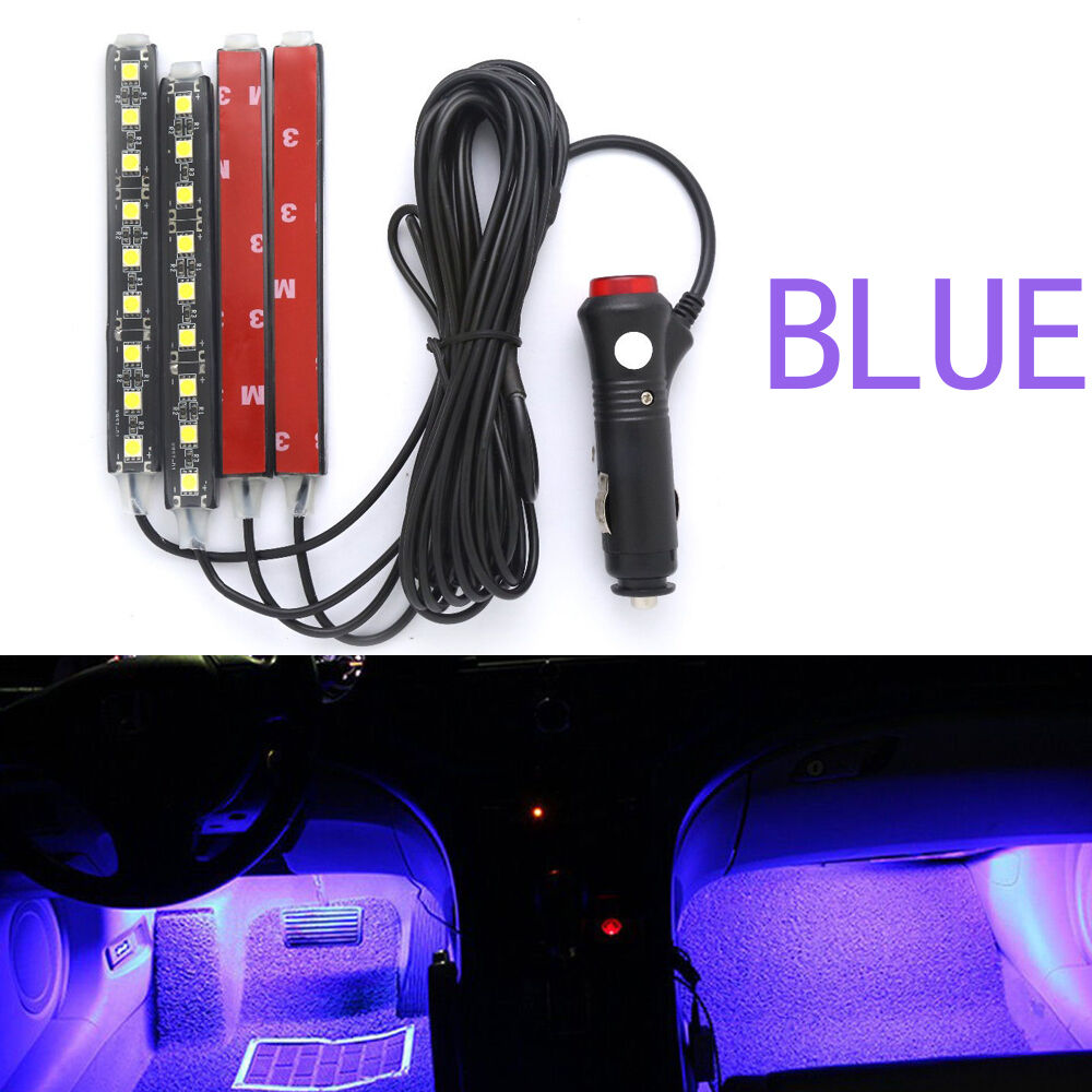 4x blue 9 led red charge interior accessories foot car decorative light lamps ebay. Black Bedroom Furniture Sets. Home Design Ideas