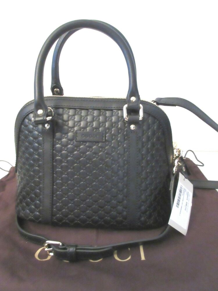 d50eb5c1b117 Details about Gucci 449654 $995 Micro Guccissima GG Black Leather Convertible  Mini Dome Bag NW