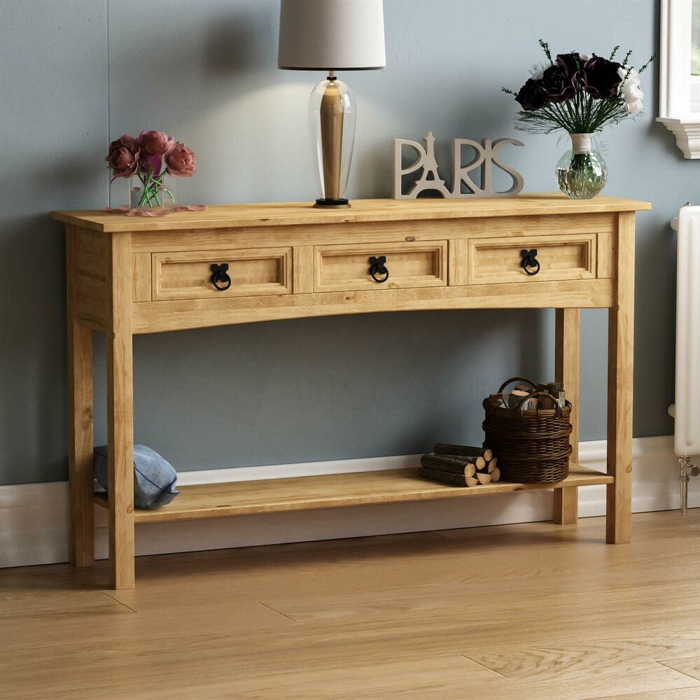 Rustic Pine Sofa Table: Corona 3 Drawer Console Table Shelf Mexican Solid Pine