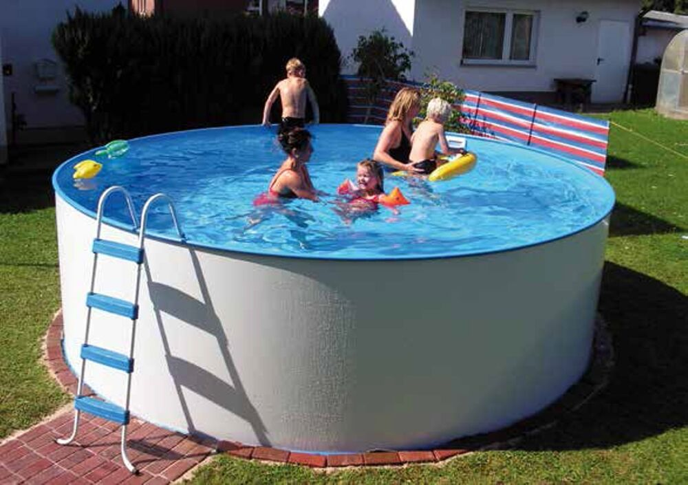 pool stahlwand schwimmbecken schwimmbad 3 5m x 1 2m rund skimmer einlaufd se ebay. Black Bedroom Furniture Sets. Home Design Ideas