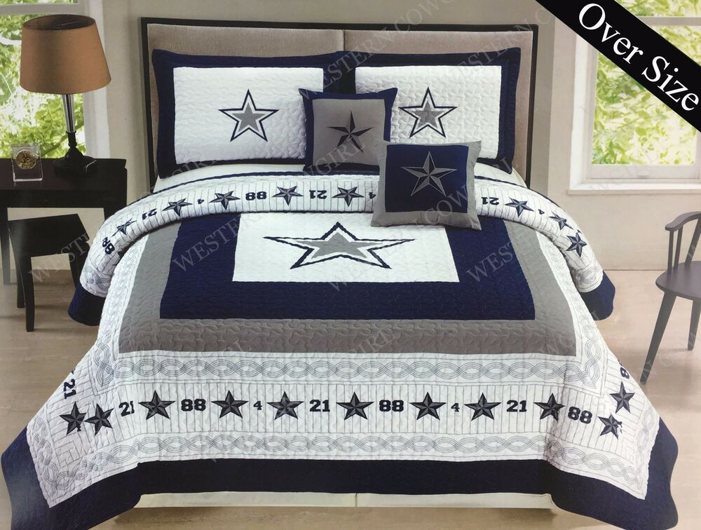 Cowboys Comforter: Texas Blue Star Cowboy Western Style Quilt Bedspread