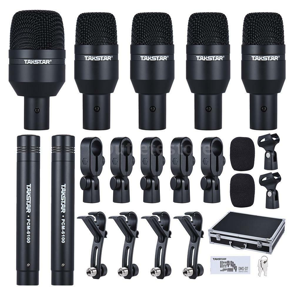 professional drum set wired microphone 7 piece mic kit 5 drum 2 condenser mics 602430435249 ebay. Black Bedroom Furniture Sets. Home Design Ideas