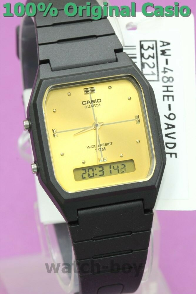 81e44578296 AW-48HE-9A Black Gold Casio Plastic Watch Dual Time Analog Digital New  Alarm