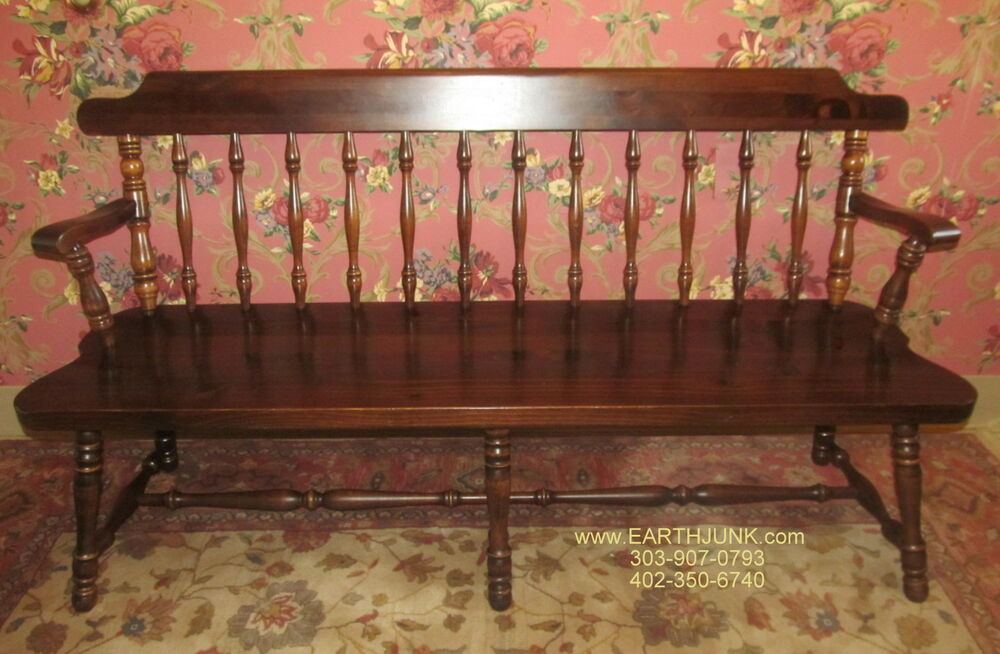 ethan allen bench old tavern antiqued distressed country pine 12
