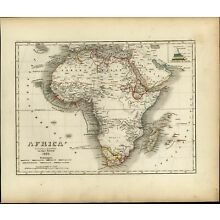 Africa continent Mts. of Moon Colonial possessions c.1850 fine antique Meyer map