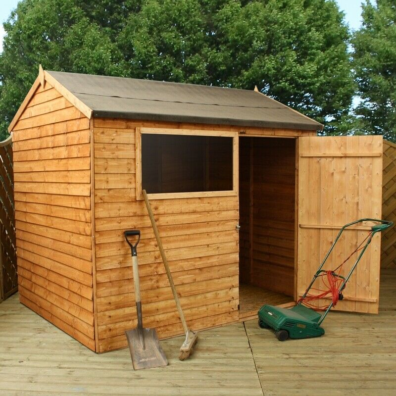 Overlap reverse apex 8 x 6 mercia garden products sheds for Garden shed 8 x 6