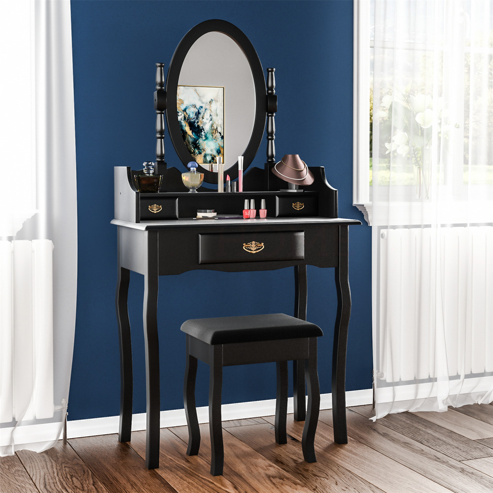 Nishano Dressing Table 3 Drawer Stool Mirror Bedroom