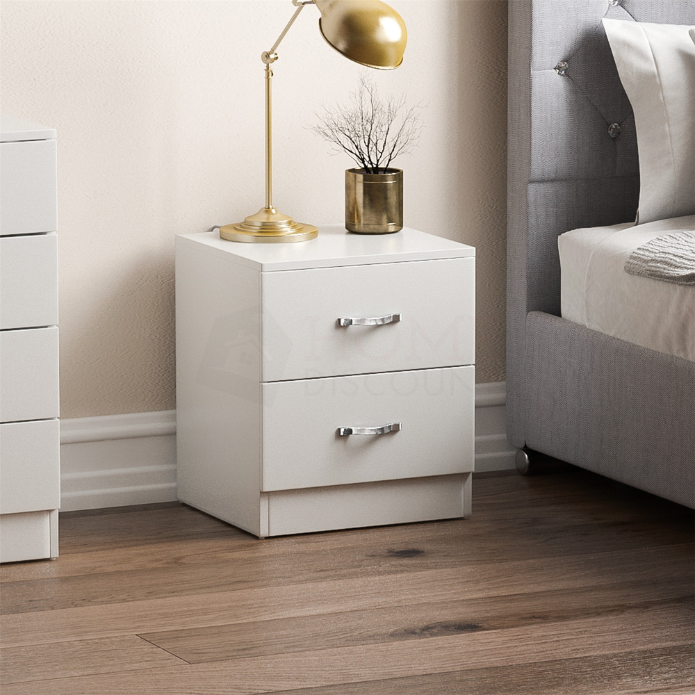 Riano Bedside Cabinet White 2 Drawer Metal Handles Runners
