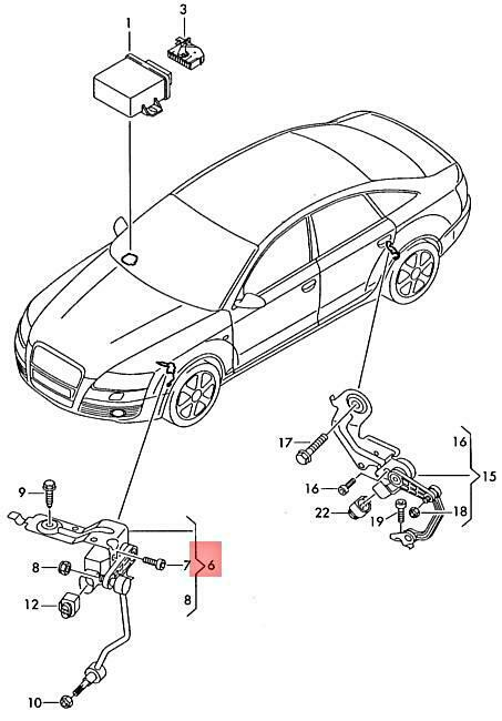 Genuine Level Sensor With Poles Right Front Audi A6 4f0941286b