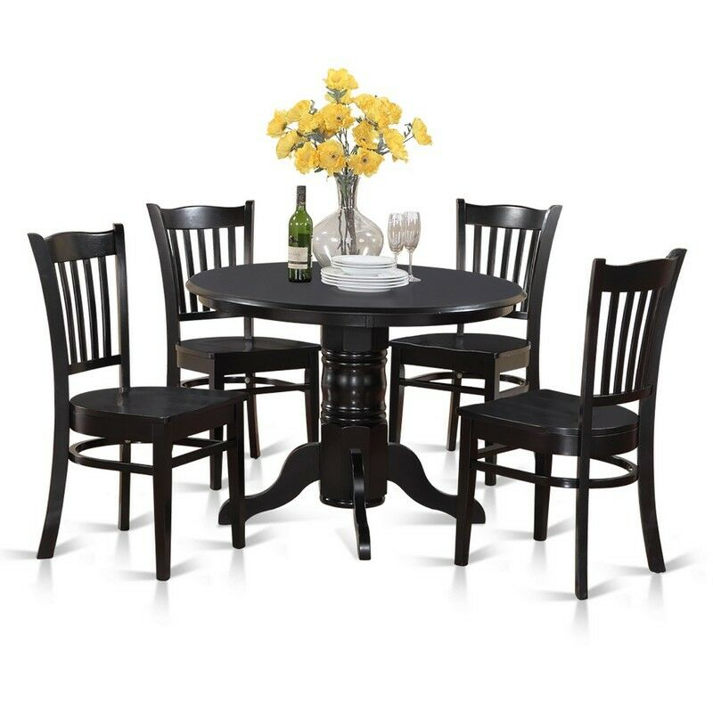 Details About 5 Piece Small Kitchen Table Set Round And 4 Dining Chairs New