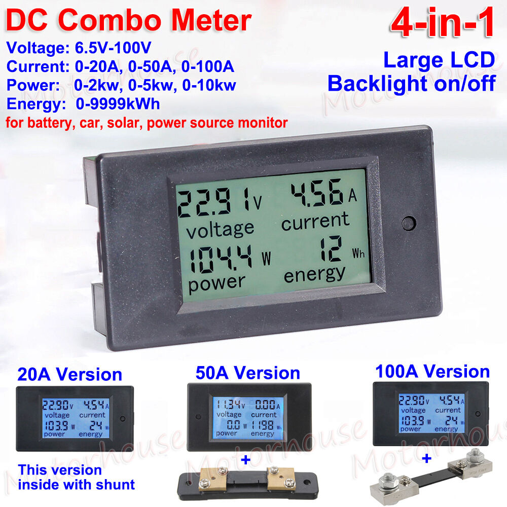 Dc Combo Lcd Panel Meter Car Solar System Battery Voltage Current Circuit Diagram Power Monitor Ebay