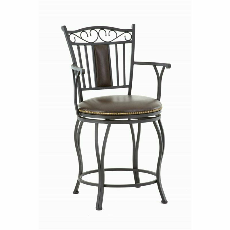 Steve Silver Barbara 24 Quot Leather Swivel Counter Stool With