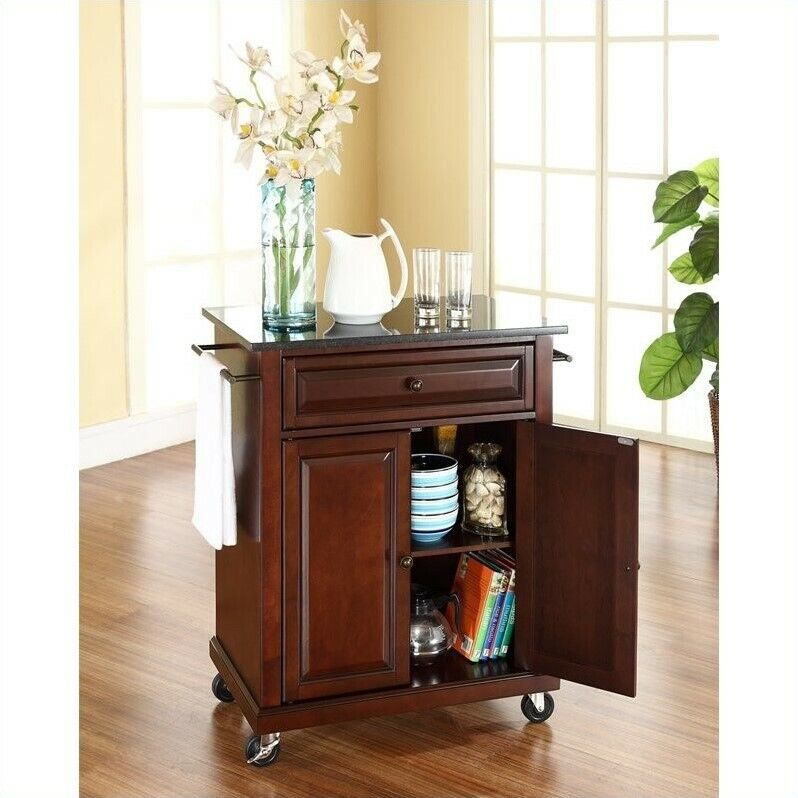 Roots Rack Natural Industrial Kitchen Cart Crosley: Crosley Furniture Solid Black Granite Top Mahogany Kitchen