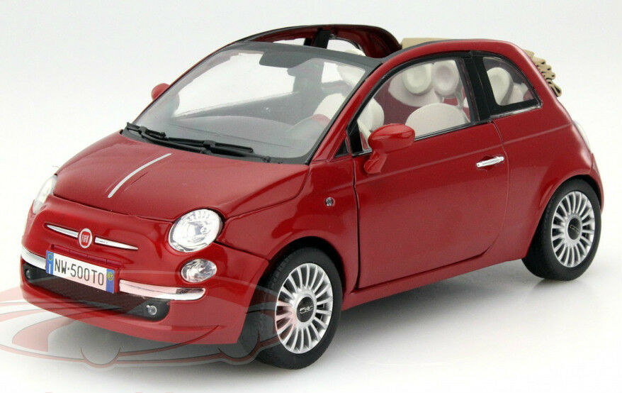 fiat 500 cabrio 1 18 scale large diecast model car die. Black Bedroom Furniture Sets. Home Design Ideas