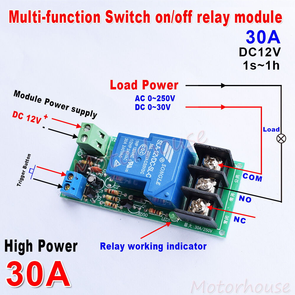 Dc 12v High Power Delay Timing On  Off Relay Control Module