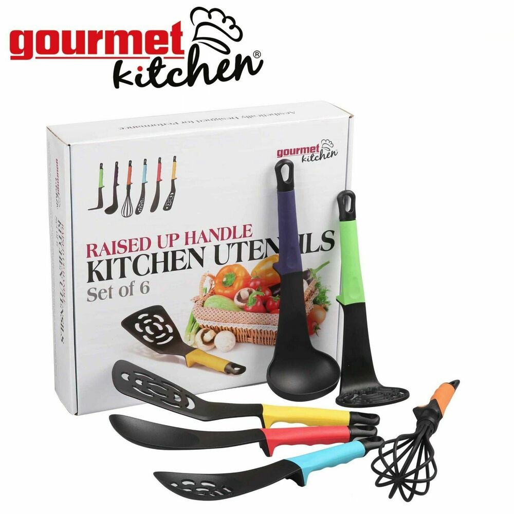 Kitchen Utensil Set 6 Piece Multi Coloured Raised Handles Home Cooking Tool Ebay