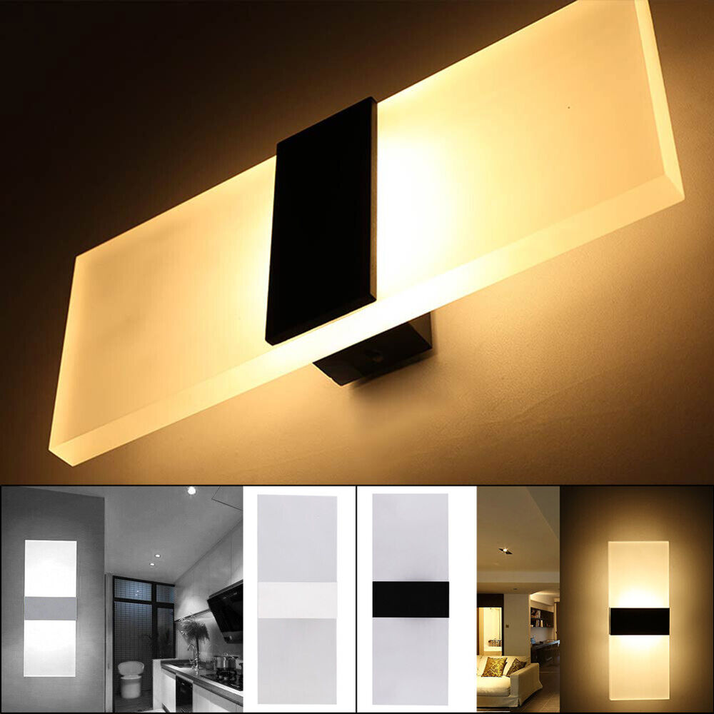 Modern led wall lighting up down cube indoor outdoor for Wall light fixtures bedroom