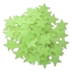 Yellow 100 Wall Ceiling Glow In the Dark Bright Stars Kid Baby Plastic Stickers