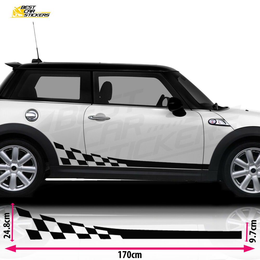 Details about fits mini cooper s side racing stripes car stickers decal vinyl