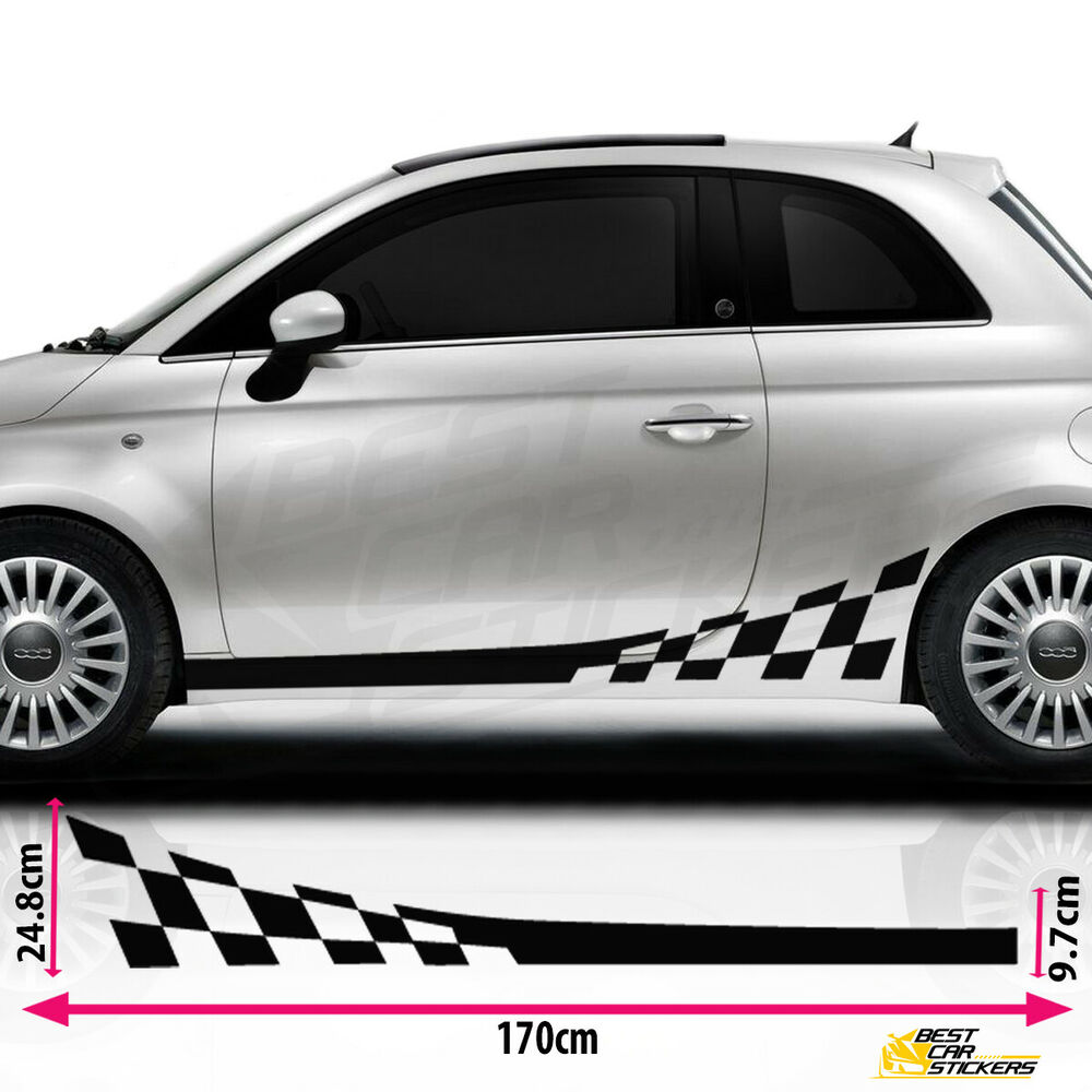 Fits Fiat 500 Side Racing Stripes Decal Stickers Vinyl