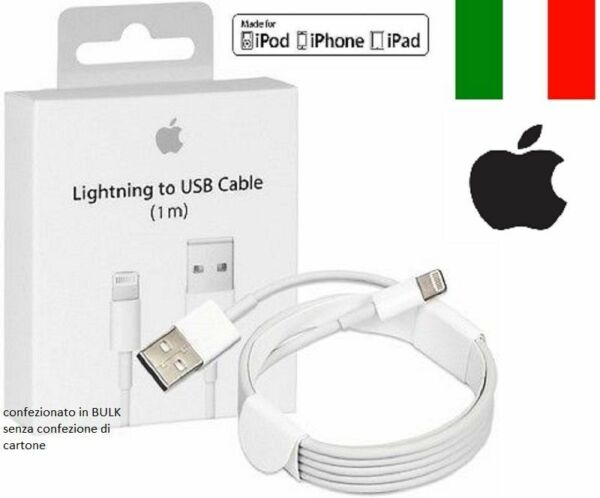 CAVO DATI USB ORIGINALE Apple  per IPHONE 8 5 5S 6S 6 Plus 7, XR,XS, per IPAD 4