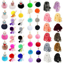 Cute Pom Fluffy Soft Rabbit Faux Fur Keychain Car Ball Ring Handbag Accessories