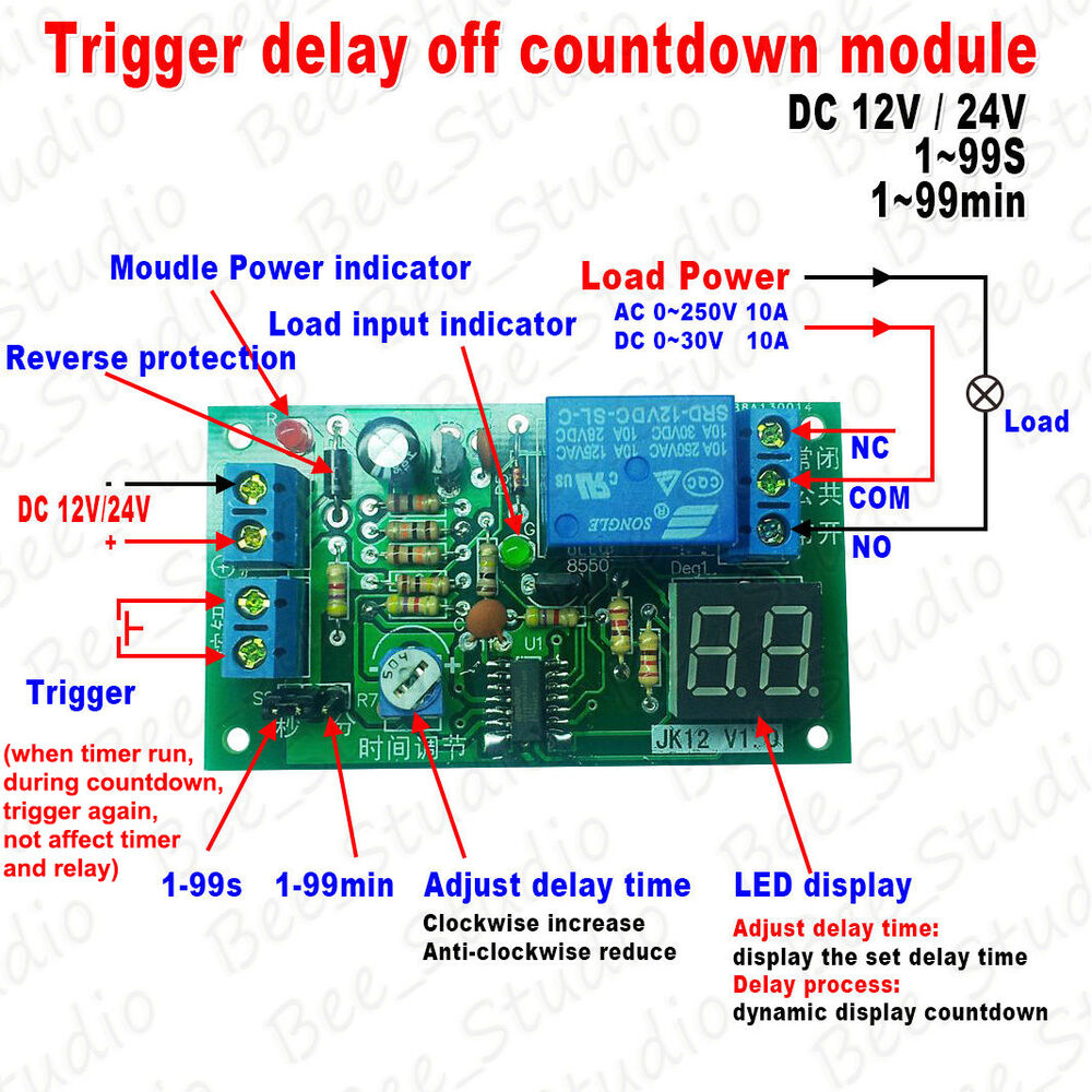 Dc 12v 24v Trigger Timer Countdown 10a Relay Switch Delay Time Turn Electrical With Timers Off Module Ebay