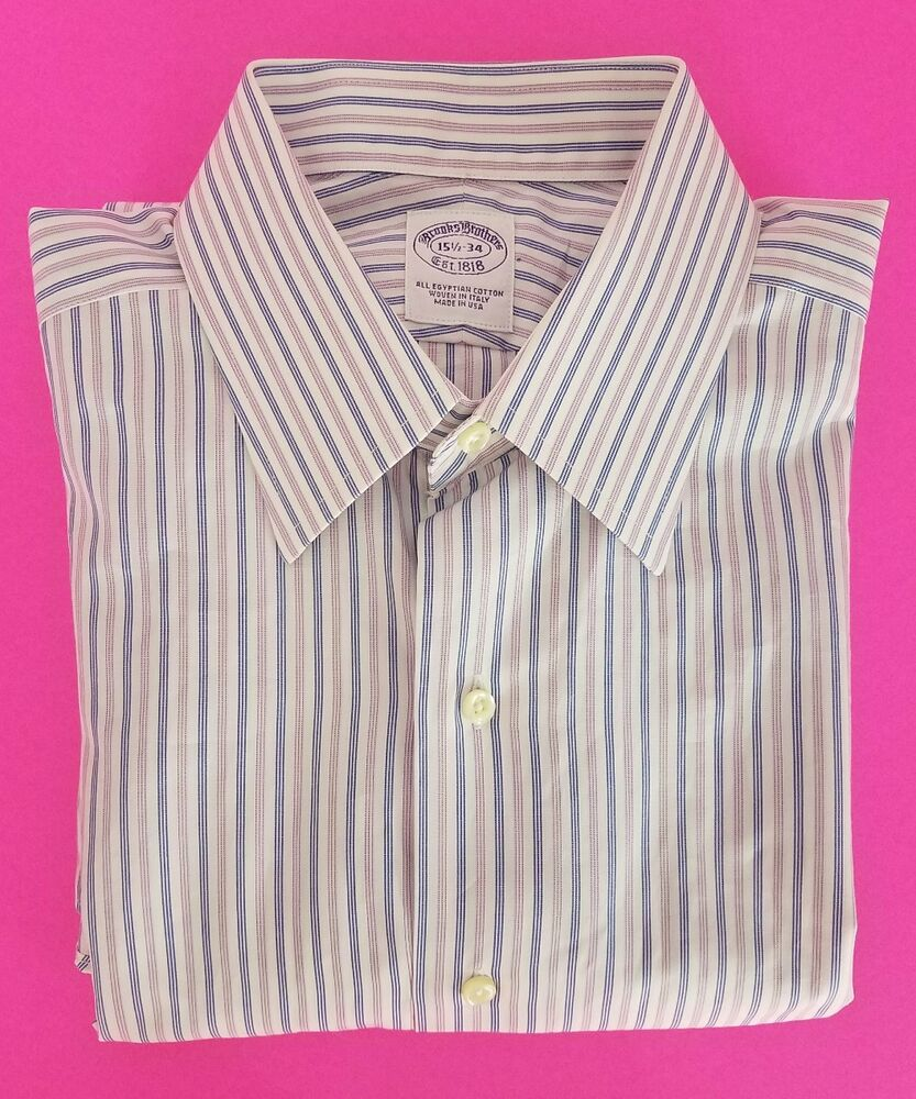 Brooks Brothers Made In Usa Egyptian Cotton Striped Dress Shirt 155