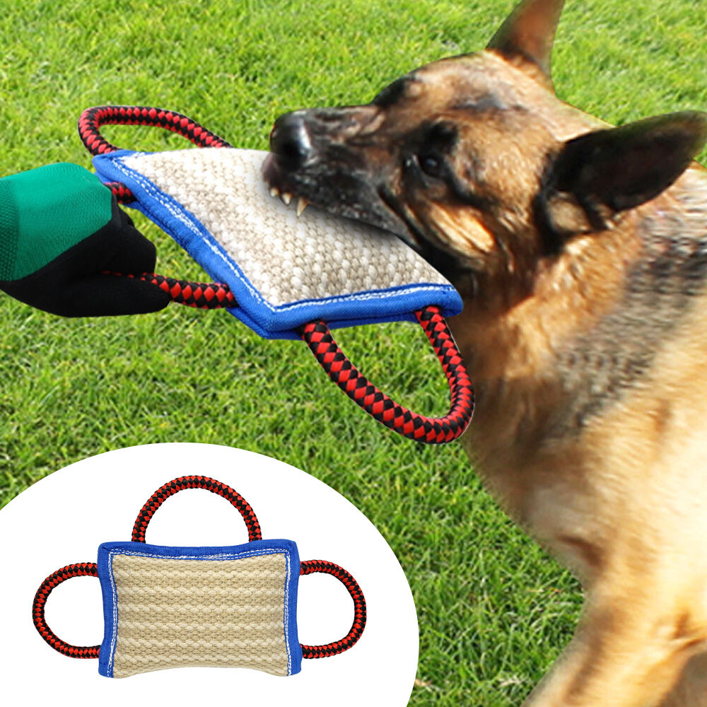 Dog Training Tug Toys: Durable Jute Big Dog Bite Pillow Dog Training Builder Tug