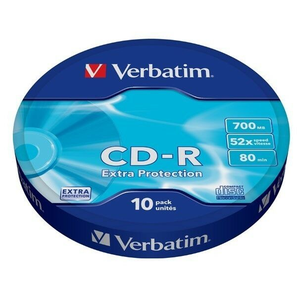 Verbatim CD -R 700 MB 52x 80 Minuti EXTRA PROTECTION cdr Pack Spindle Wrap 43725