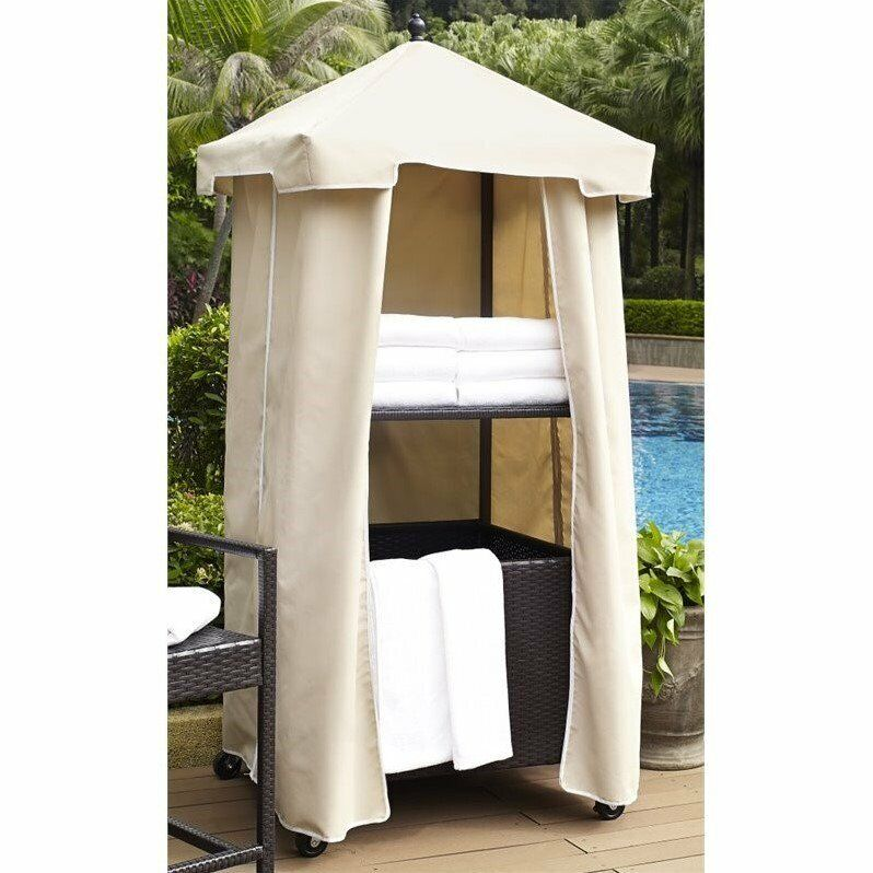 Crosley Palm Harbor Outdoor Wicker Towel Valet With Cover