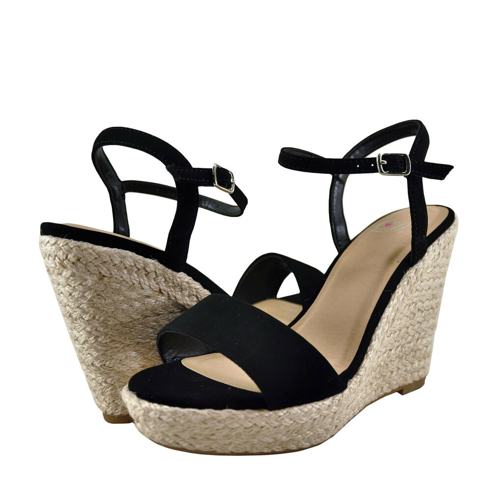 5a06f374e62 Details about Womens Shoes Delicious Freesia Open Toe Rope Wrapped Wedge  Black  New